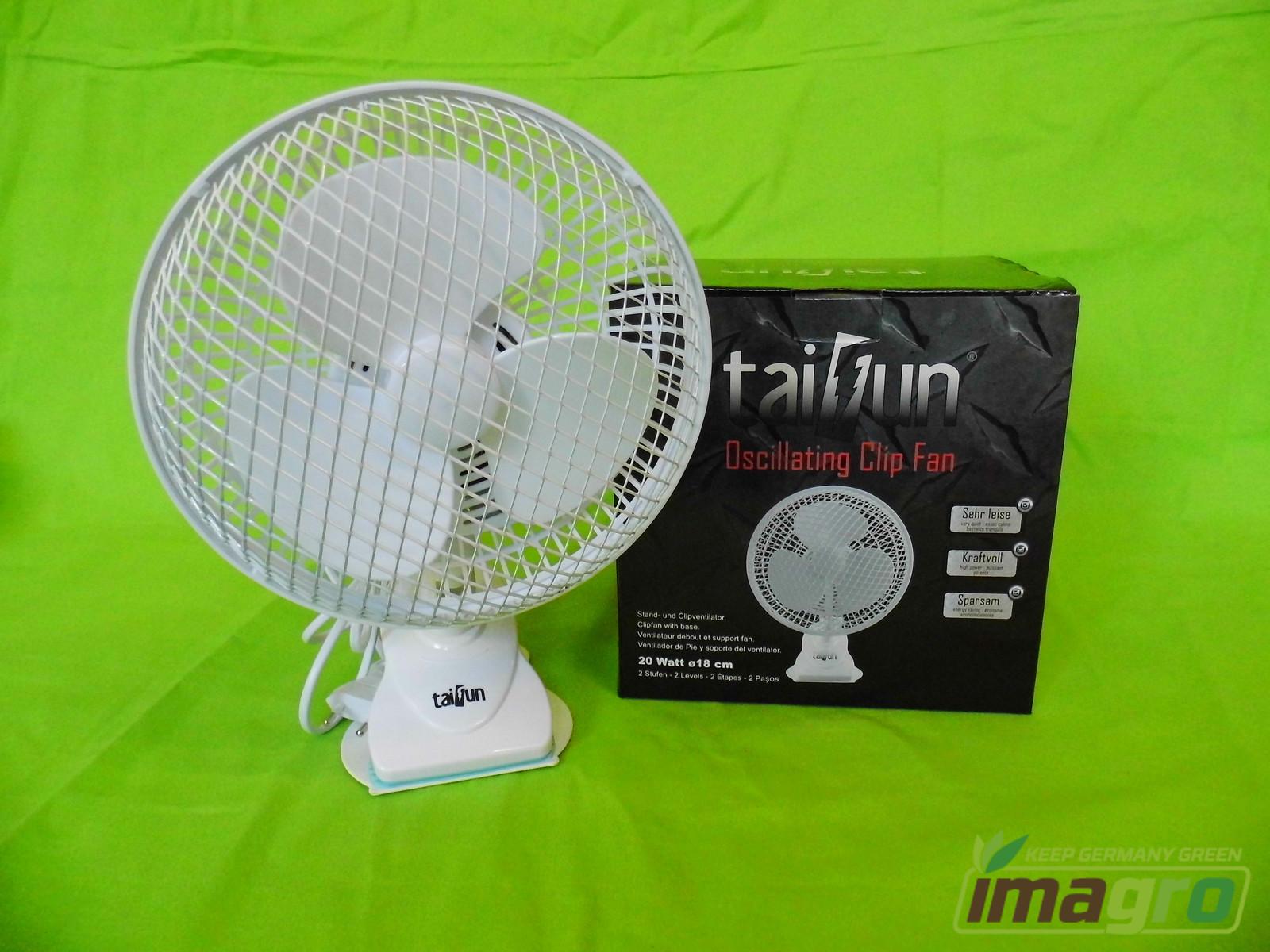 Taifun Clip /& Standventilator 18cm automatisch schwenkbar Tischventilator Grow